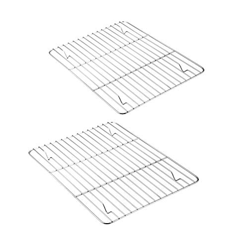Baking Cooling Rack Set of 2, E-far Stainless Steel Metal Roasting Cooking Racks, Size - 9.7'x7.3', Non Toxic & Rust Free, Fit for Small Toaster Oven, Dishwasher Safe