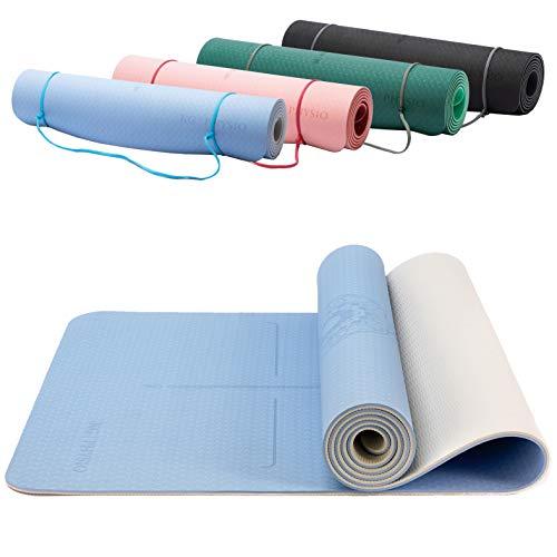 KG Physio Esterilla de yoga ecológica de TPE antideslizante con correa de esterilla de yoga incluida, ideal para hiiT, pilates, yoga y muchos otros entrenamientos en el hogar, 185 cm x 60 cm x 0,6 cm