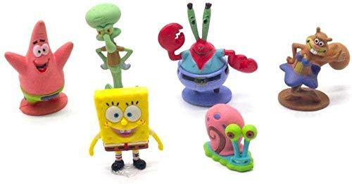 Regalo 6pcs / Set Bob Esponja Bob Esponja Miniaturas PVC Figuras de Acción Sandy Patrick Star Anime Toy Gift