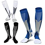 3 Pairs Medical&Althetic Compression Socks for Men,20-30 mmhg Nursing Socks for Edema Diabetic Varicose Veins Running (Blue+Black+White)
