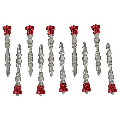 10 stuks magnetische schroevendraaierbits met dubbele kop, zeskantschroevendraaier met gekruiste kop, 100 mm, lang voor elektrische boormachines, accessoires zilver.