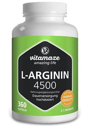 L-Arginin Kapseln hochdosiert 4500 mg je Tagesdosis, 360 Kapseln, Natürliche Nahrungsergänzung ohne unnötige Zusatzstoffe, Made in Germany