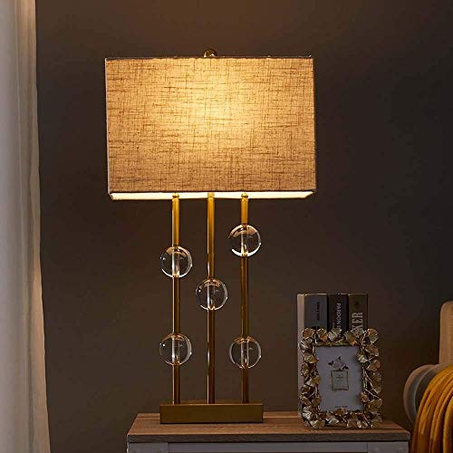 SDHouse Lámpara Escritorio Lámpara Decorativa Retro Modelo Hotel Moderno Sala de Estar Dormitorio lámpara de Noche Bola de Cristal lámpara de Mesa de Bronce 22x76cm línea de Lino (Color:Dorado)