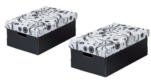 Nips 110249253 Eco Line Tendri 2 - Cajas de almacenaje (2 unidades, 32 x 45,5 x 19 cm, con tapadera), color blanco y negro