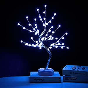 EXTRAFEIN Artificial Bonsai Tree Lights – Table Decor Snowflake Tree Fairy Lamp, Battery/USB Operated, Lit Tree Centerpieces for Jewelry Holder,Christmas Festival Decoraction,Mini Night Light