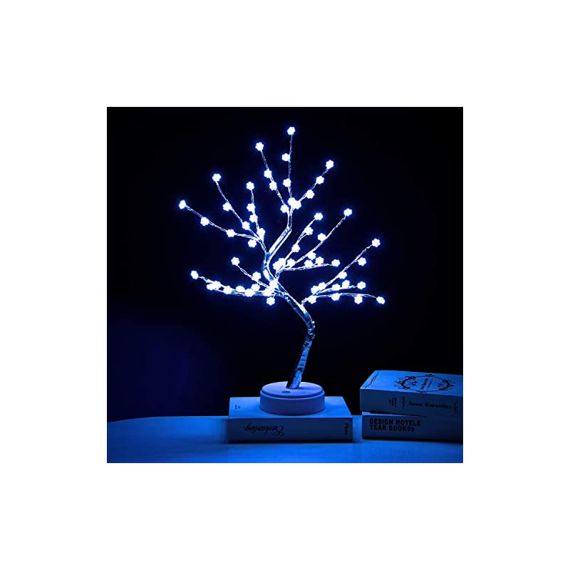 silk flower arrangements extrafein artificial bonsai tree lights - table decor snowflake tree fairy lamp, battery/usb operated, lit tree centerpieces for jewelry holder,christmas festival decoraction,mini night light