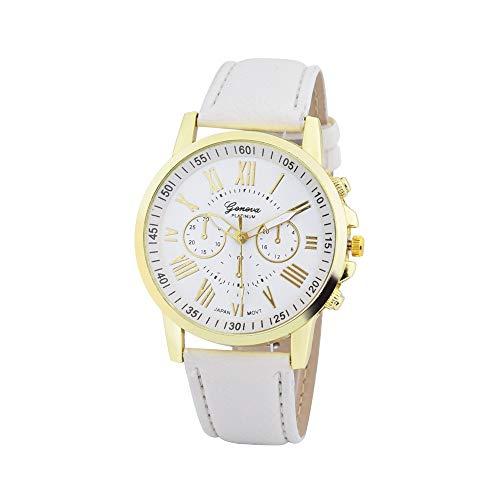 Rosennie Damen Armbanduhr Analog Quarz Leder Damenmode Römische Ziffern Kunstleder analoge Quarz Armbanduhr Wasserdicht Lederarmband Classic Armbanduhr Casual Quarzwerk Uhren mit Chronograph