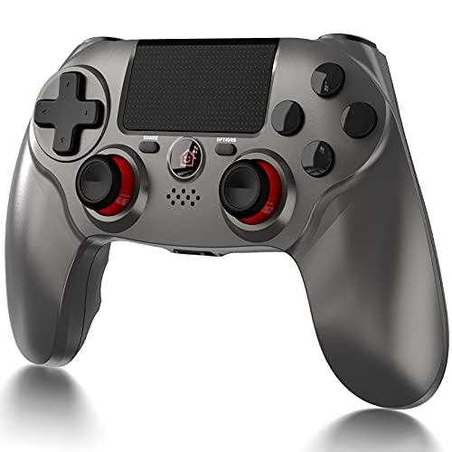 ELYCO Controller für PS4, Wireless Joystick Gamepad mit Dual Vibration/Touchpanel-Spielbrett / 6-Achsen/Audio-Funktion Kompatibel, Game Controller Gamepadmit PS4 / Pro/Slim (Grau)