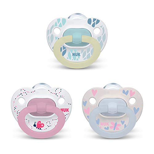 NUK Orthodontic Pacifier Value Pack, Girl, 0-6 Months, 3-Pack