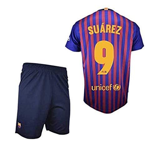 Conjunto Camiseta y Pantalon 1ª Equipación 2018-2019 FC. Barcelona - Réplica Oficial Licenciado - Dorsal 9 Suarez - NiñoTalla 10 años - Medidas Pecho 43.5 - Largo Total 59 - Largo Manga 16 cm.