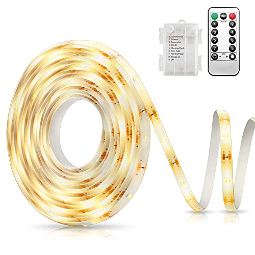 AMIR Tira de LED a Pilas 3 Metros y 90 LED, Tira de Luz con Control Remoto, Temporizador, 8 Modos, Strip Light Interior al Aire Libre para Dormitorio, Armario, TV, Cocina, Decoración del Hogar
