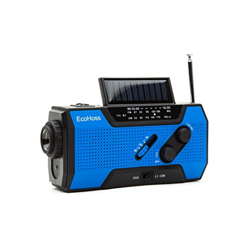 EcoHoss 2018 Upgraded Emergency Weather Radio Solar Phone Charger NOAA Hand Crank Dynamo AM/FM with Bright Flashlight, Plus LED Camping Reading Lamp and, 2000mAh Power Bank USB 2.0
