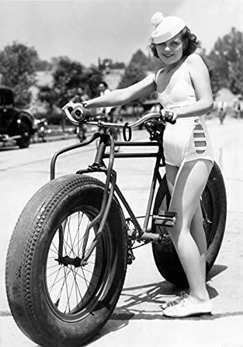 Fotografía antigua, bikini, bikini, traje de baño, bicicle