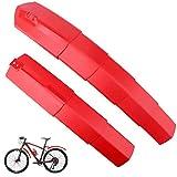 YGHH 1 Par Guardabarros de Bicicleta, Guardabarros Delantero y Trasero, Retráctil Universal ABS con Luz Trasera Guardabarros Retráctil Bicicletas para MTB, Bicicleta Ciudad, Bicicleta Trekking (Rojo)