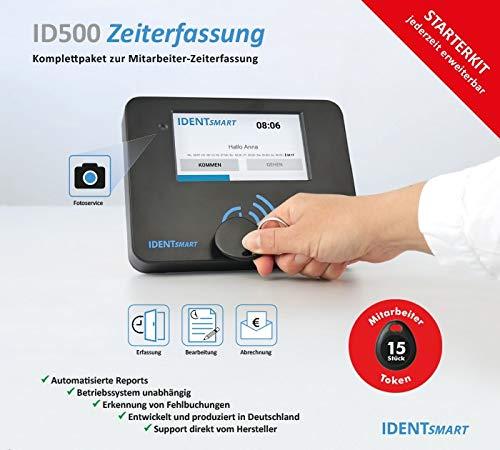 IDENTSmart Zeiterfassung ID500TR Starterkit inkl. 15 Mitarbeiter-Token *erweiterbar* - kompatibel zu Chipdrive Timerecording 7