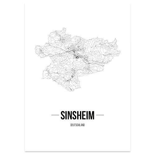 JUNIWORDS Stadtposter - Wähle Deine Stadt - Sinsheim - 60 x 90 cm Poster - Schrift B - Weiß