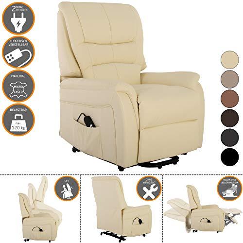 RABURG Fernsehsessel JAN mit elektrischer Aufstehhilfe - Schlafsessel XXL mit Liege- & Relaxfunktion aus Soft-Touch-Mikrofaser - in VANILLE mit 2 kraftvollen Motoren + Fernbedienung