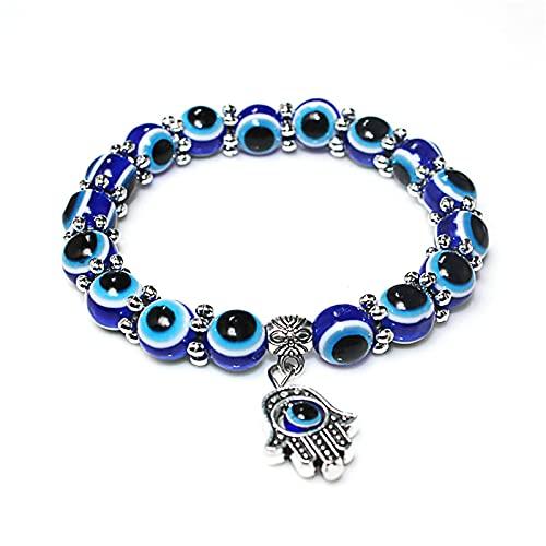 Pulsera con colgante de palma de ojo vintage, personalidad de moda, pulsera de cuentas de ojo azul para mujer, regalo de joyería para el día de la madre de San Valentín de Navidad, B