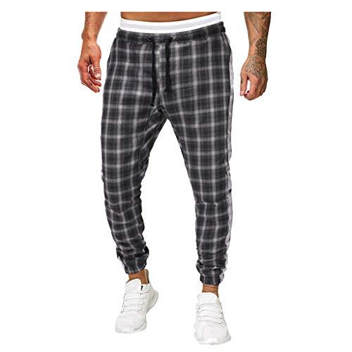 beautyjourney Pantalones Deportivos a Cuadros para Hombre Pantalones de chándal de Rayas a Cuadros Pantalones Tipo Cargo Cordón de Pantalones para Correr Pantalones Casuales de Corte Ajustado