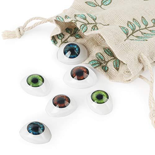Vollence 3 Paar 3 Farben Oval Flache Hohle Plastikaugen Puppe Puppe Bär Craft Eyes Augäpfel Maske Making DIY Supplies für Porzellan oder Reborn Puppen Stofftier Spielzeug Troll Scary Eyes