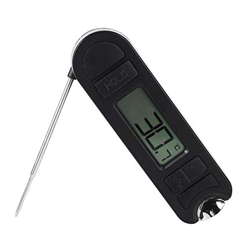 EECOO Grillthermometer, zusammenklappbares, schnell ablesbares Grillthermometer Rauchertemperaturanzeige mit Flaschenöffner-Design