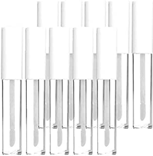 KEAIYYJ 10ml/0.34 oz Empty Plastic Lip Gloss Packaging Tubes with Wand Makeup Reusable Bottle Container White Top for DIY 10 Pack