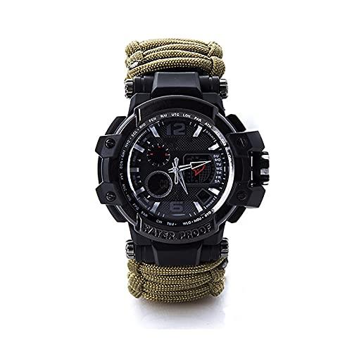 WTYU Reloj de Pulsera de Supervivencia al Aire Libre, Reloj de Cuerda de Paraguas multifunción para Salvavidas, brújula Impermeable, para Hombres, Novio, Camping y Sender A