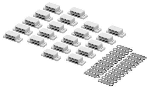 20 x Magnetschnäpper Türmagnet Möbelmagnet Schrank Schnapper Magnetverschluss (Weiß, ohne Schrauben)