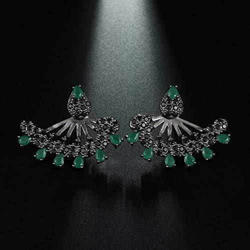 Pendientes de mujer Pendientes de botón de piedra verde Cz Pendientes de sexo negros de lujo Oído Regalo de moda de San Valentín