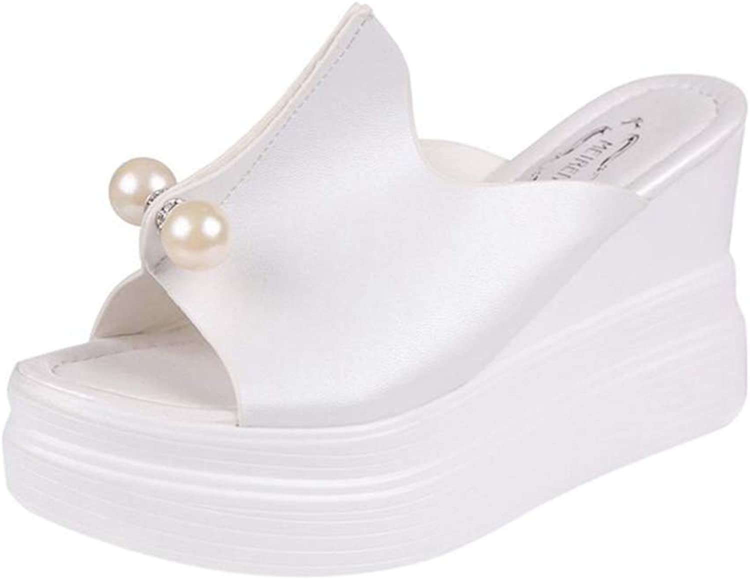 T-JULY Women Summer Sandals Thick Heel Platform Wedges Sandals Sexy Beading Slippers Sandalias Slides White Black High