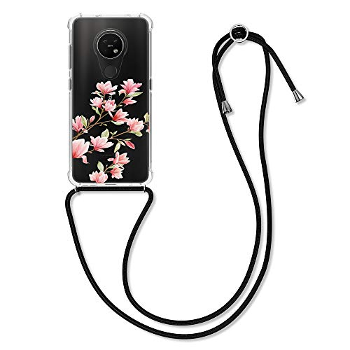 kwmobile Hülle kompatibel mit Nokia 7.2 - Silikon Handyhülle mit Kette - Rosa Weiß Transparent Magnolien