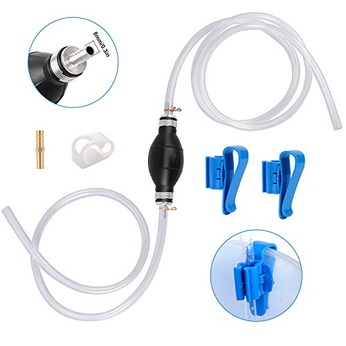 Siphon Hand Pump Manual Fuel Transfer Pump Siphon Hose for Gas Gasoline Petrol Diesel Oil Liquid Water Fish Tank with 2 Durable PVC Hoses,Portable Widely Use