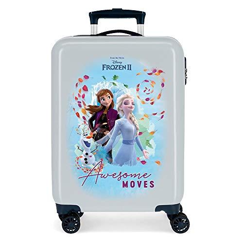Disney Frozen Awesome Moves Maleta de cabina Azul 38x55x20 cms Rígida ABS Cierre combinación 34L 2,6Kgs 4 ruedas dobles Equipaje de Mano