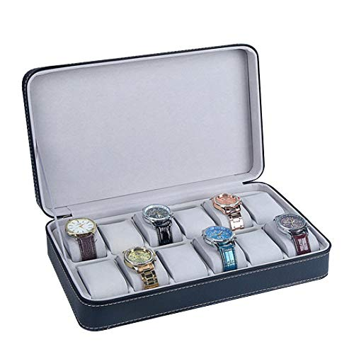 QMWY horloge doos, horloge vitrine Draagbare stofdichte horloge opbergdoos Rits horloge doos Horloge sieraden doos Eenvoudige lederen armband display box