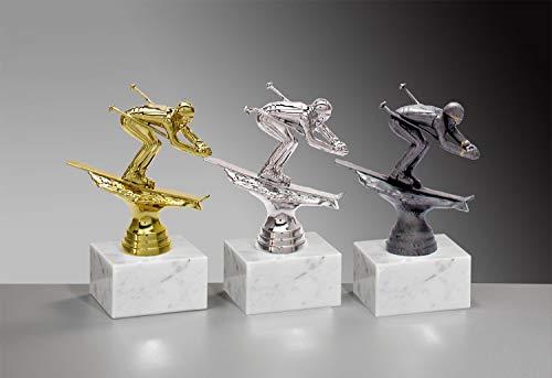 Henecka ⛷ Ski-Pokal, Ski-Trophäe, Ski Alpin Abfahrt Skifahrer auf Marmorsockel, mit Wunschgravur, wählbar in 3 Farben (Gold)