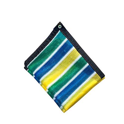 YXLZ parasolnet, parasolnet, net ombra, blauw groen en geel en wit strepen, 3 x 5 m UV-bescherming 85% voor broeikas, Fienili, Kanili, plantenafdekking, tuin