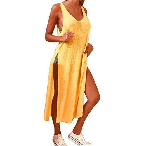 T-Shirtkleid für Damen/Dorical Frauen A-Linie Rundhals Midikleid Sommerkleid Ärmellos Longshirt mit Schlitz Tanktops Strandkleider Casual Loose Vestkleid Sportkleid(Gelb,Large)