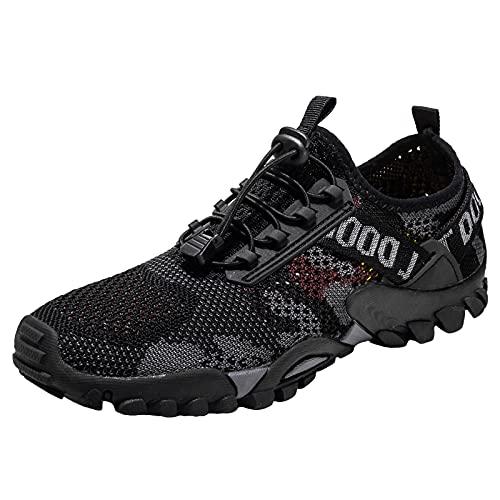 Willsky Zapatillas De Senderismo Livianas para Hombres Malla Transpirable Caminando Zapatillas De Agua Secar Rápido Verano Al Aire Libre Casual,Negro,42EU