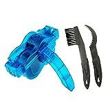 EYLIFE Limpiador de Cadena de Bicicleta, 3 pcs Herramientas de Limpieza para Bicicleta, Limpieza múltiples de Aceite y Barro, Todo Tipo de Cadenas(Azul Transparente)