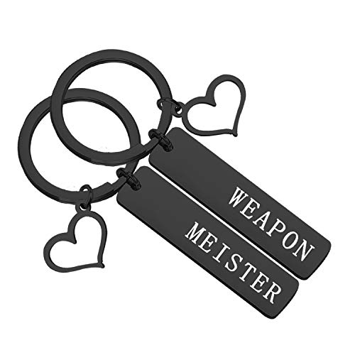 bobauna Weapon And Meister Geek Set Keychain Soul Eater Inspired Anime Jewelry Gift For Couple Best Friend