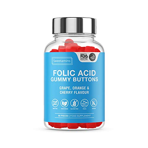 Sweetamins Folic Acid Gummy Buttons, 60 Chewable Folic Acid Gummy Bears - High Strength Grape, Cherry and Orange Flavoured Edible Vegetarian Friendly Vitamin Food Supplement | USA Import|