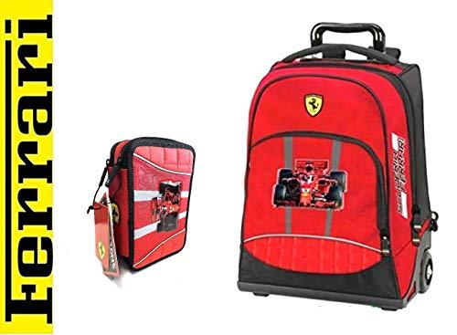Scuola Trolley Zaino Ferrari Astuccio 3 Piani Completo + Omaggio Penna Glitterata + segnalibro