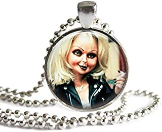 Bride of Chucky Tiffany 1 Inch Silver Plated Picture Pendant Necklace