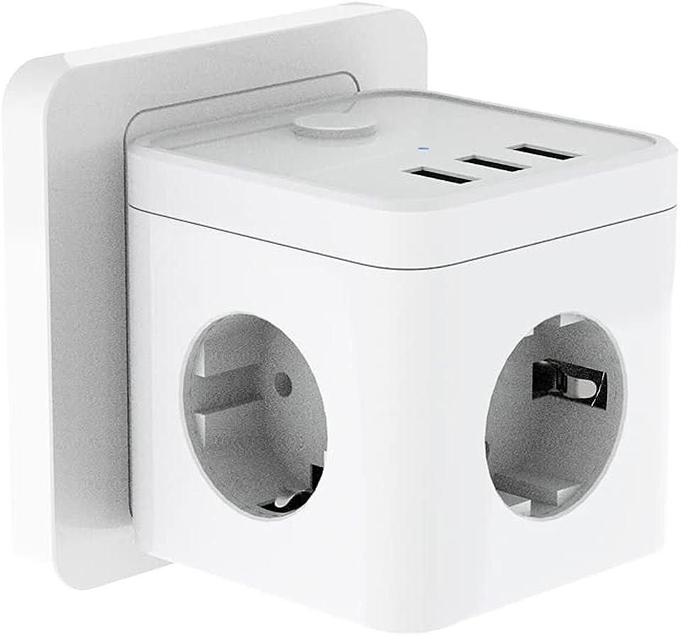 USB Steckdose, Gogotool Steckdosenleiste 6 Fach, 3 USB Anschluss mit Schalter, Steckdosenwürfel Mehrfachsteckdose für Büro, Zuhause, Haushaltsgerät