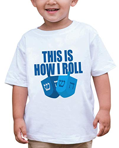 7 ate 9 Apparel Baby's How I Roll Funny Hanukkah T-Shirt 2T White