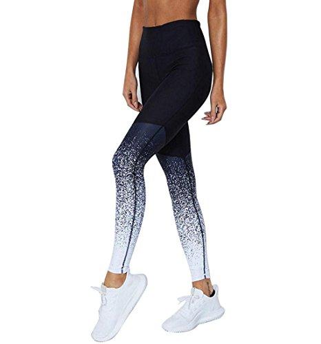 Eaylis Damen Hohe Taille Sport Leggings, Damen Sport Leggings, Gradient Yoga Sporthose, Damen Leggings, Classics Stretch Workout Fitness Jogginghose (Blau, Small)