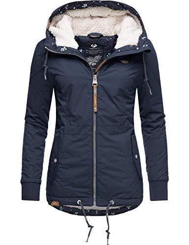 Ragwear Damen Winterjacke Outdoorjacke mit Kapuze YM-Danka Blau Gr. L