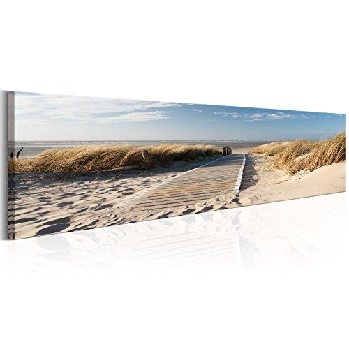 murando - Bilder 172x45 cm Vlies Leinwandbild 1 TLG Kunstdruck modern Wandbilder XXL Wanddekoration Design Wand Bild - Landschaft Strand Meer Sand Himmel Gras Urlaub Wolke Bretter c-B-0154-b-a