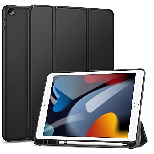 ZtotopHülle für Neu iPad 9/8/7 Generation Hülle mit Stifthalter, Superdünne Soft TPU Rückseite Abdeckung Schutzhülle, Auto Schlaf/Aufwach für iPad 10,2 Zoll 2021/2020/2019, Schwarz