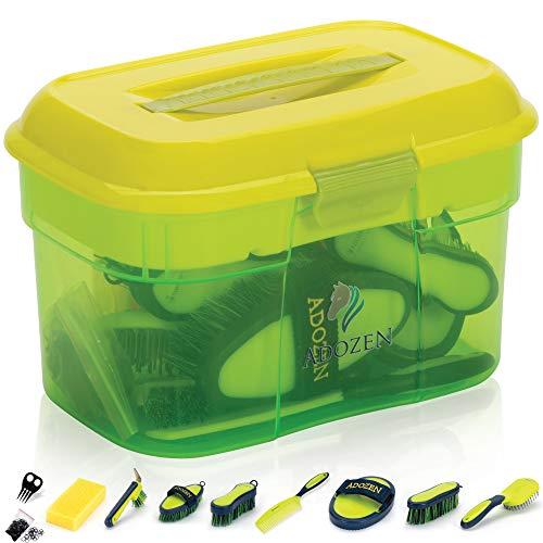Caja de limpieza para caballos Adozen con contenido, 10 piezas rellenas, mango antideslizante suave, verde y amarillo